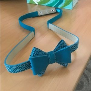 White House Black Market Turquoise Belt w/ Bow